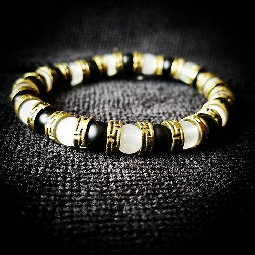 6mm Unisex Bracelet: White Jade, Bronze, & Black Onyx