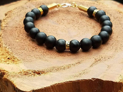 10mm Black Onyx with gold accents