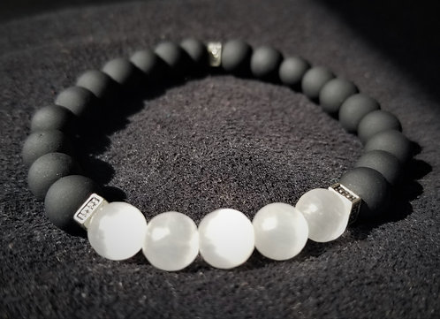 Obsidian and white jade bracelet