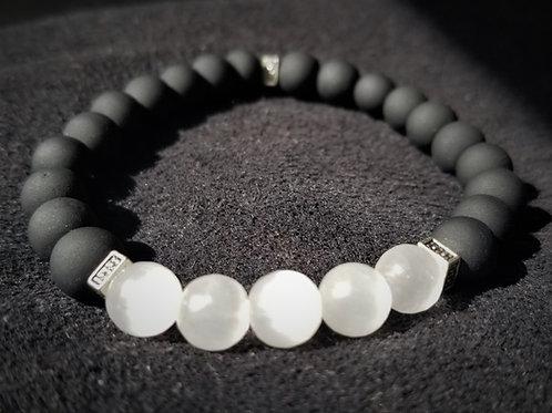 Obsidian and white jade bracelet