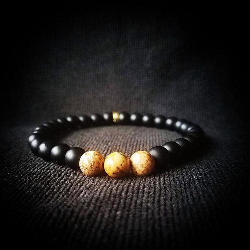 African Queen Picture Jasper & Onyx stackable beaded bracelet