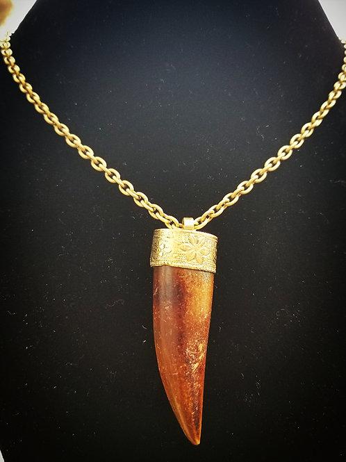 Tibetan Repousseè Wooden 5.5cm Horn pendant