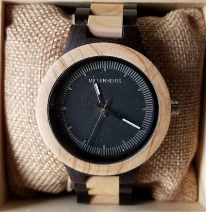 Pinewood & Ebony Wooden Watch