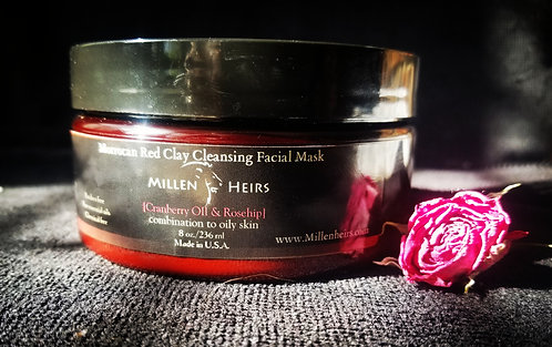 Moroccan Red Clay Cleansing Facial Mask(Cranberry & Rosehip)
