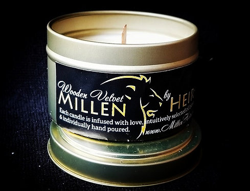 "MillenHeirs ""Wooden Velvet"" 6oz. Candle Tin"