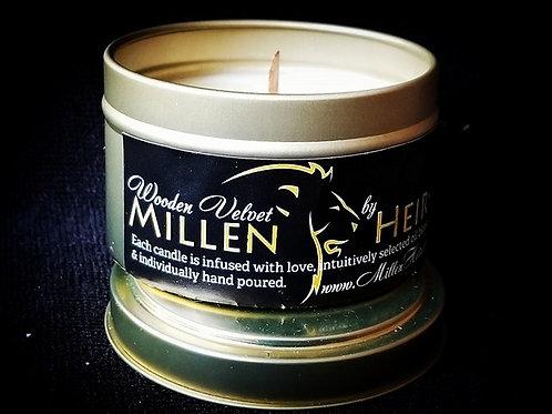 "MillenHeirs ""Wooden Velvet"" 6oz. Candle Tin"
