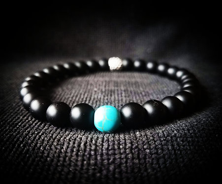 8mm Black Onyx & Turquoise Stretch Beaded Bracelet