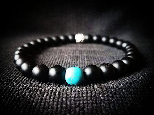 8mm Black Onyx & Turquoise Stretch Beaded Bracelet