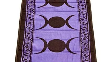 "Triple Moon Cotton Yoga Mat In Purple - 24""x72"""