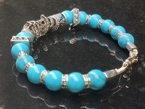 10mm Blue Howlite & Silver bracelet