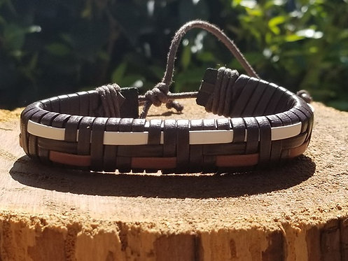 3 Tone Brown Leather bracelet
