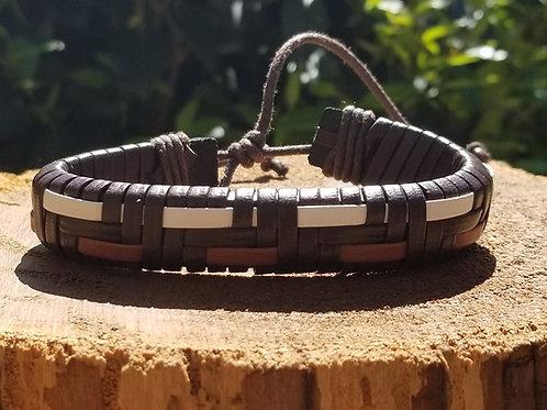 3 Tone Brown Leather bracelet