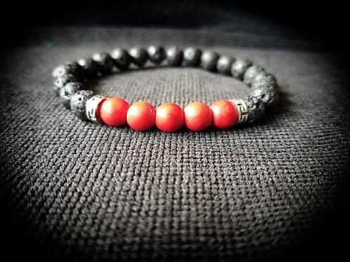 Red howlite & black lava stone beaded bracelet