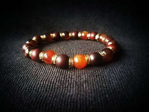 10mm Mahogony & Carnelian beaded bracelet