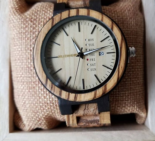 Zebra Wood & Ebony Wooden Watch