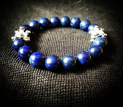 Lapis Lazuli with Aquamarine beaded bracelet