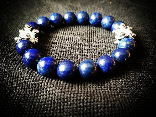 Lapis Lazuli with Aquamarine beaded bracelet