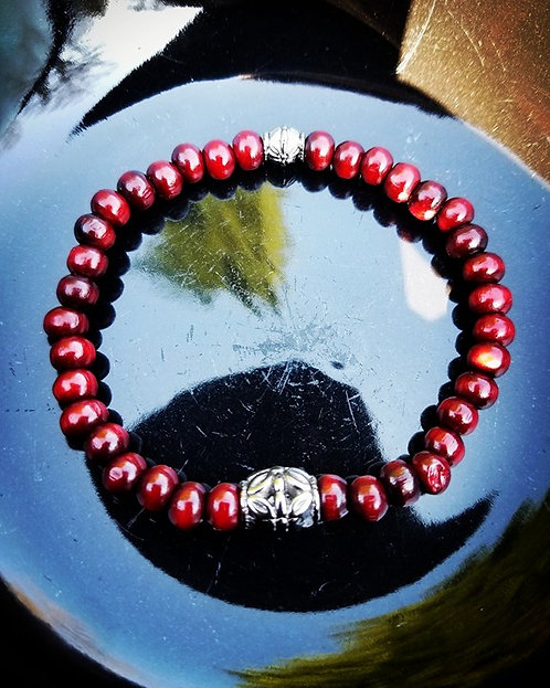 6mm Unisex Beaded Bracelet: Rosewood & Antique Silver Yoga Bracelet