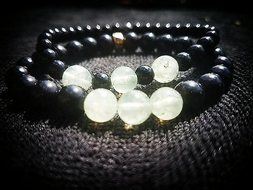 8mm obsidian beaded bracelet with 8mm prehnite & gold closure set