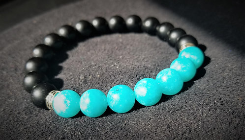 obsidian and amazonite bracelet