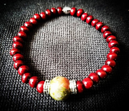 Rosewood with Unakite Focal Beaded Bracelet