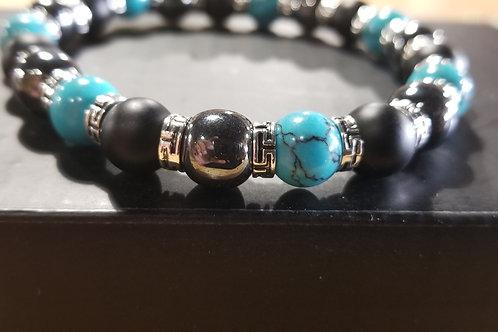 Turquoise, Hematite, & Black Onyx