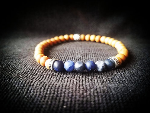 6mm Sandalwood & Lapis stretchable beaded bracelet