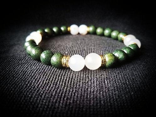 Green Quartz & White Jade Mens Beaded Bracelet