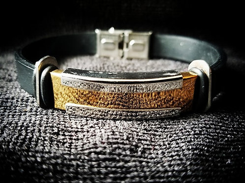 Black Men's Bracelet with Silver & Gold plated buckle