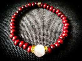 Rosewood with Rose Quartz Focal beaded Bracelet