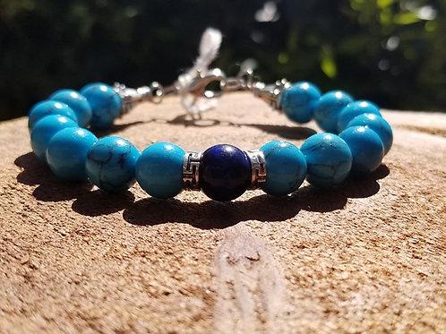 10mm Blue Howlite with Blue Tiger's Eye Focal Bead Unisex Bracelet