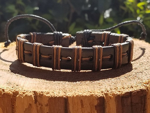 Two Toned Brown Leather Bracelet