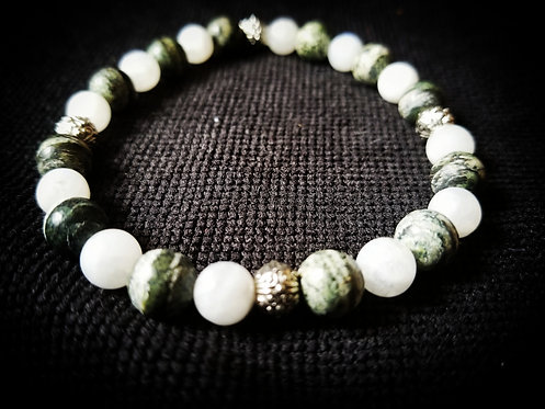 Green Zebra Jasper with moonstone beaded bracelet
