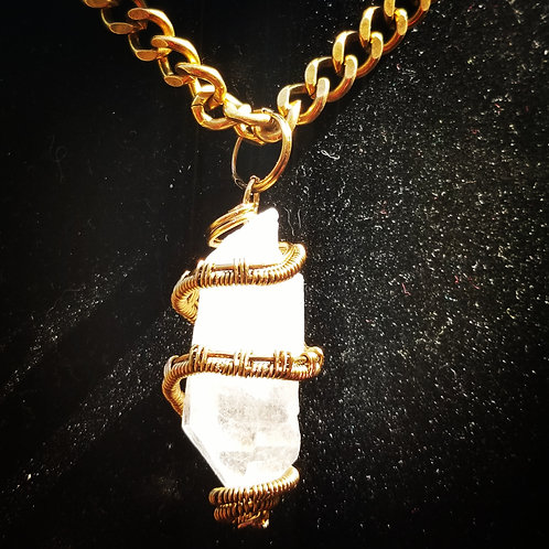 Clear Quartz Necklace on Antique Brass