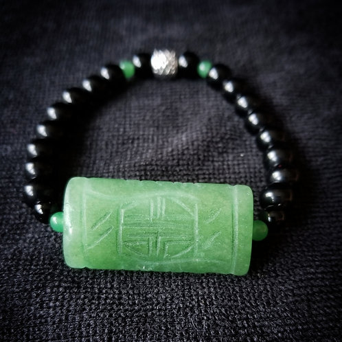 8mm Obsidian w/Green Aventurine focal Bracelet