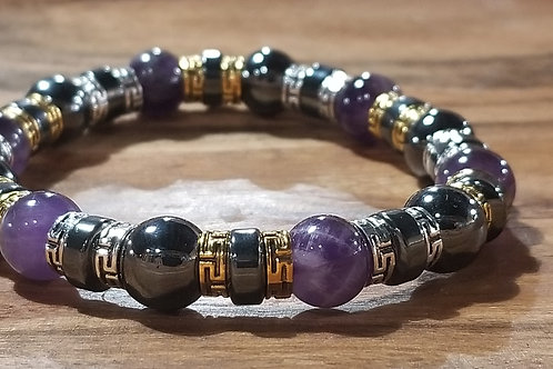 Amethyst & Hematite 10mm Beaded Bracelet