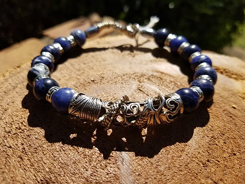 10mm Sodalite with Dragon Koi Focal Men's Bracelet