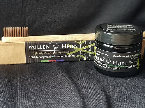 Spearmint Activated Charcoal Tooth Powder  & Toothbrush Combo