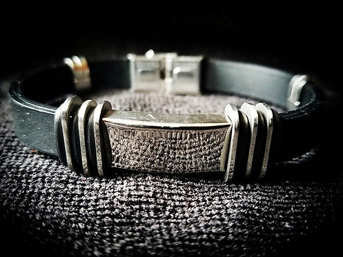 Black Men's Bracelet with Silver plated Buckle