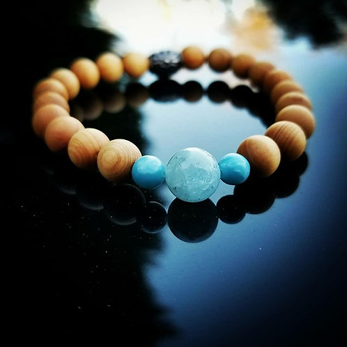 8mm Women's Beaded Bracelet: Sandalwood, Aquamarine, & Larimar
