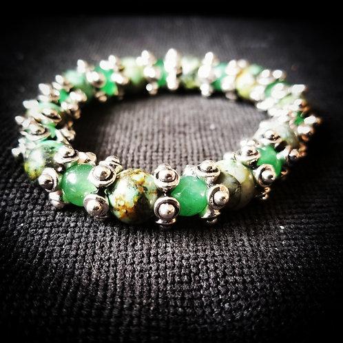 African Turquoise & Green Aventurine beaded bracelet