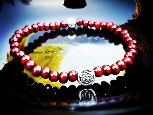 6mm Unisex Bracelet: Rosewood & Silver Yoga Beaded Bracelet