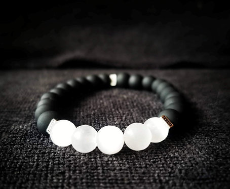 8mm Black glass & Selenite beaded bracelet