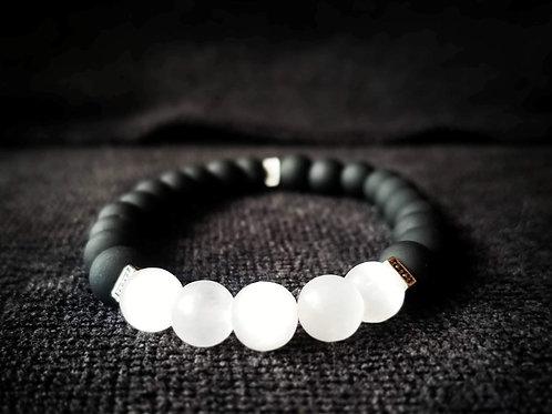 8mm Black glass & Selenite beaded bracelet