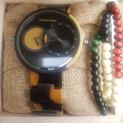 Wooden watch with tri-color sandalwood necklace
