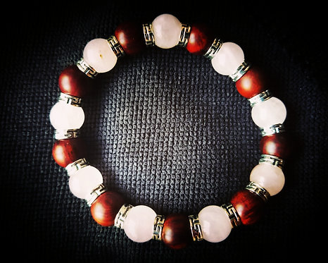10mm Rosewood & Rose Quartz Bracelet w/silver spacers