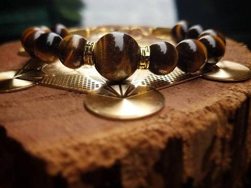 Yellow Tiger's Eye & Gold Bracelet