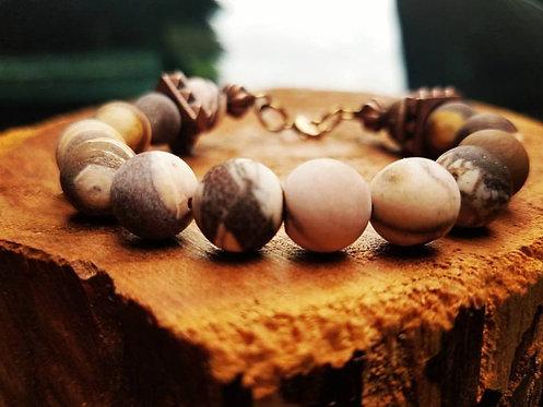 10 mm Natural Matte Brown Zebra Jasper & Bronze bracelet