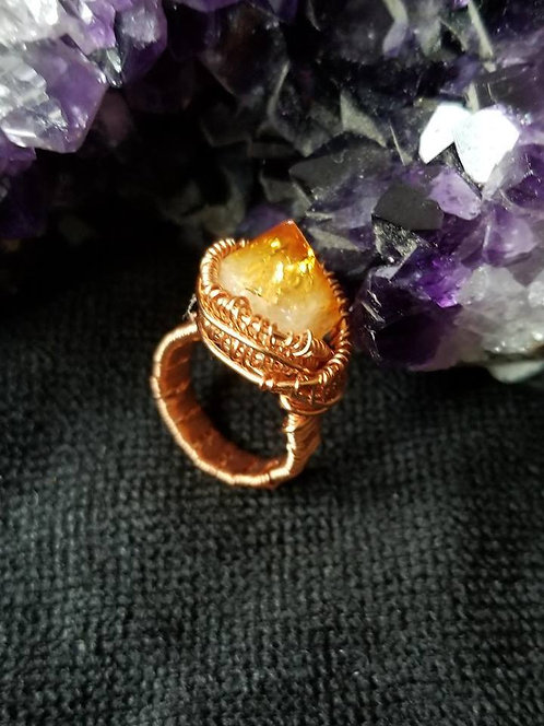 Wirewrapped Citrine Ring(7.5)