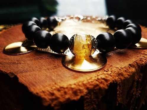 10mm Ebony with Citrine focal bead & silver bracelet